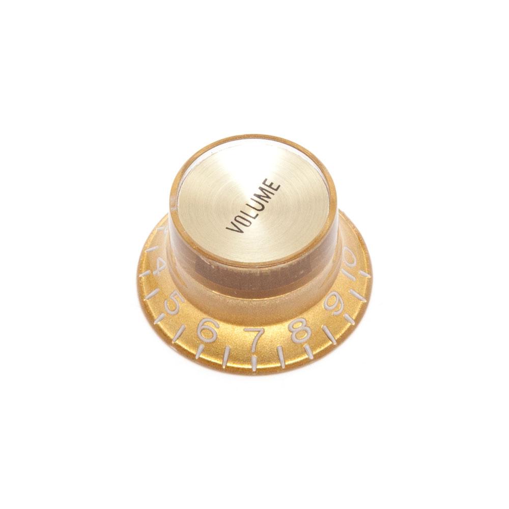 Hosco Reflector Volume Control Knob Gibson Style (Gold w/Gold Cap, Metric (mm))