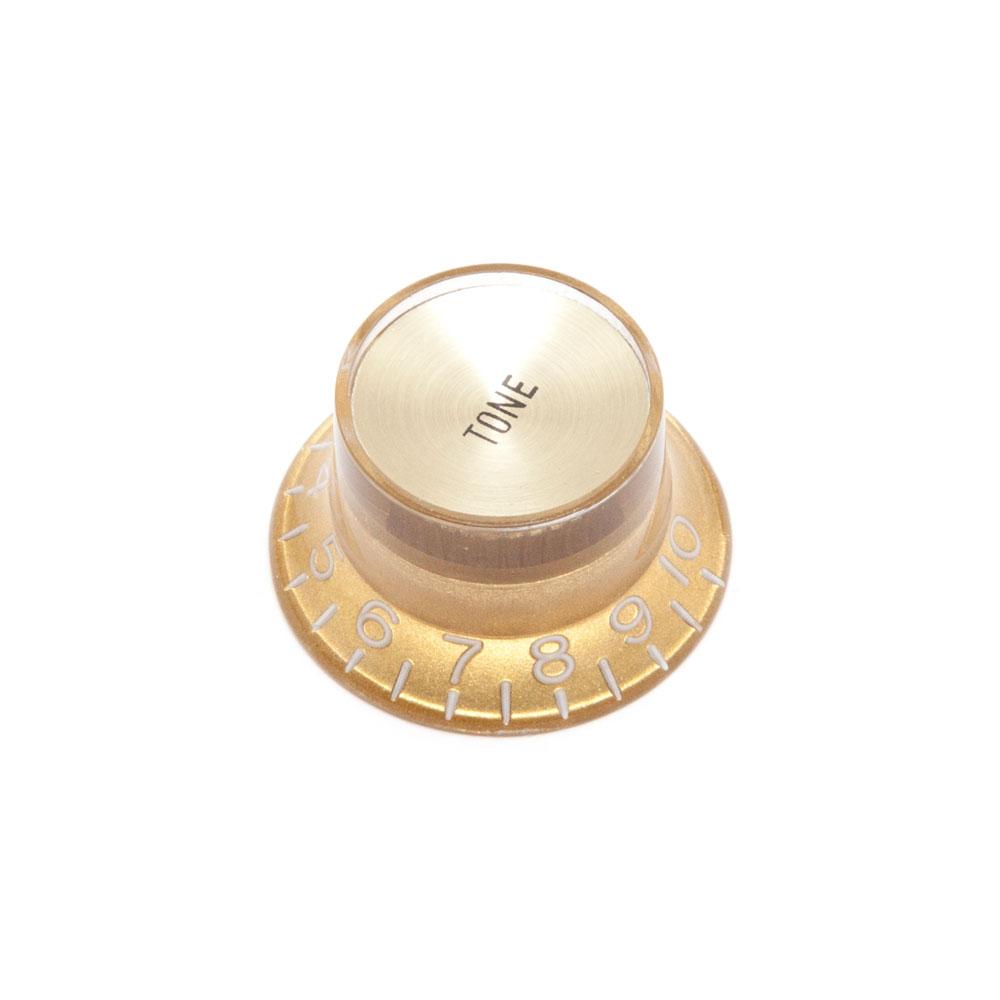 Hosco Reflector Tone Control Knob Gibson Style (Gold w/Gold Cap, Metric (mm))